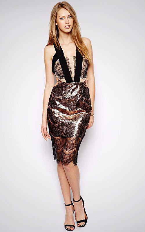 Brands,Collections,Dresses - Posh Girl Katara Black Lace And Vegan Leather Dress