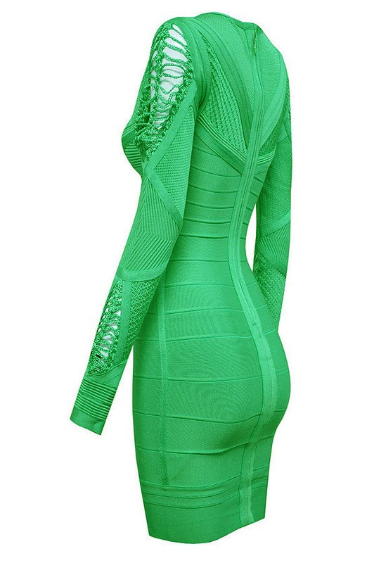 Brands,Collections,Dresses - Posh Girl Roxanne Green Long Sleeve Bandage Dress