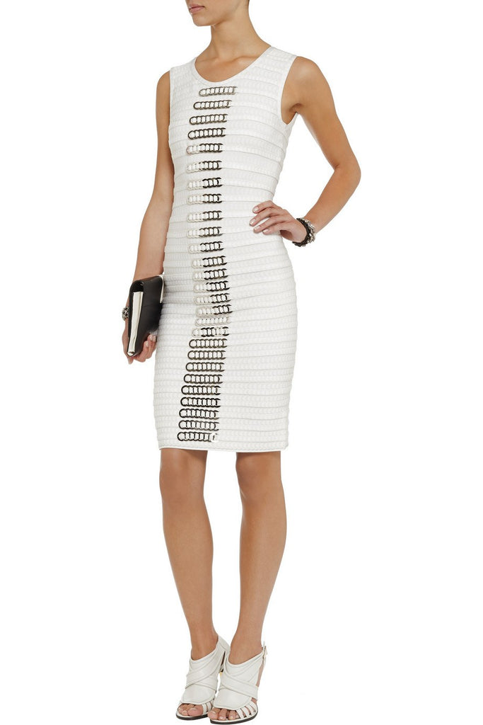 White Chain Embellished bandage dress-POSH GIRL-Posh Girl