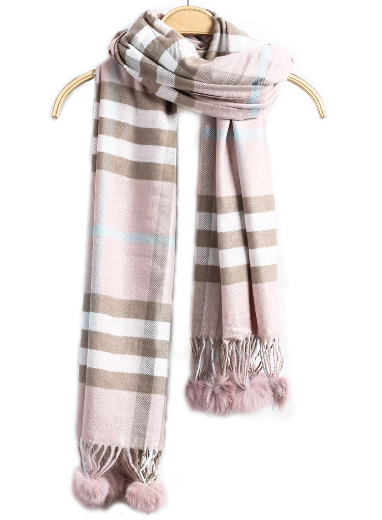 Brands,Collections - Posh Girl  Pink Plaid Ball Fringe Cashmere Scarf Wrap