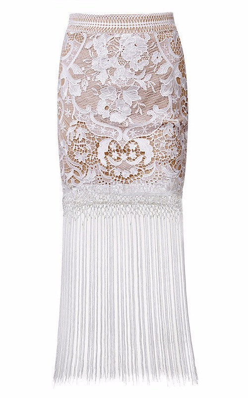 Posh Girl White Lace Fringe Maxi Skirt-POSH GIRL-Posh Girl
