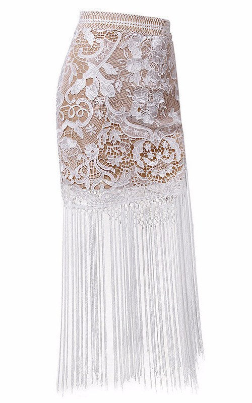 Brands,Dresses,Apparel,Collections - Posh Girl White Lace Fringe Maxi Skirt