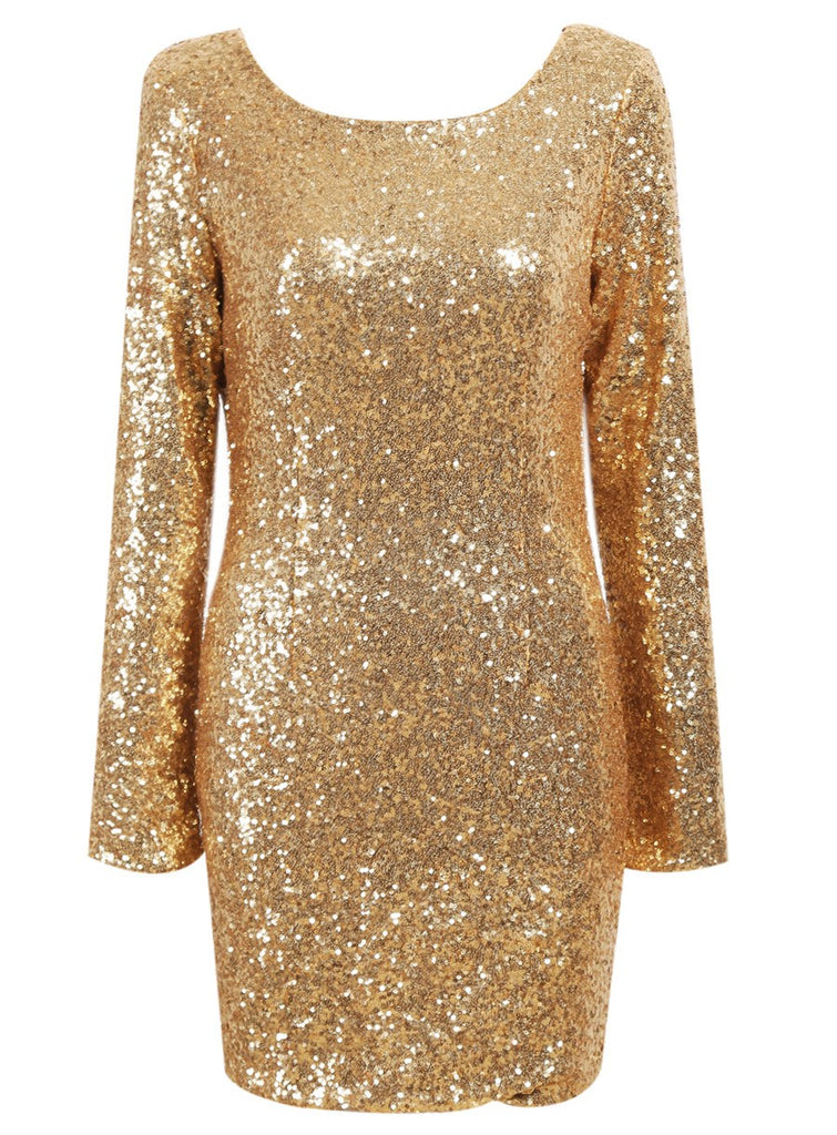 Posh Girl Antique Gold Sequins Mini Dress for $1.38 at Posh Girl