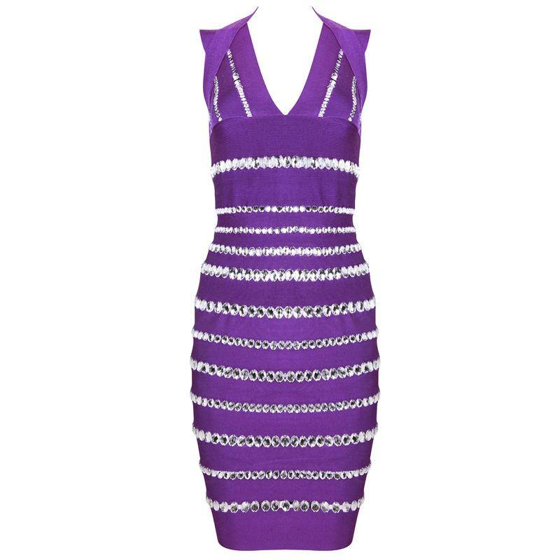 Brands,Dresses,Apparel - Posh Girl Purple Beaded V-Neck Bodycon Dress