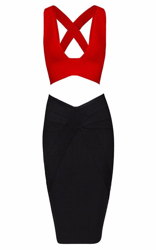 Posh Girl  V-Front Crop Bandage Skirt Set-POSH GIRL-Posh Girl