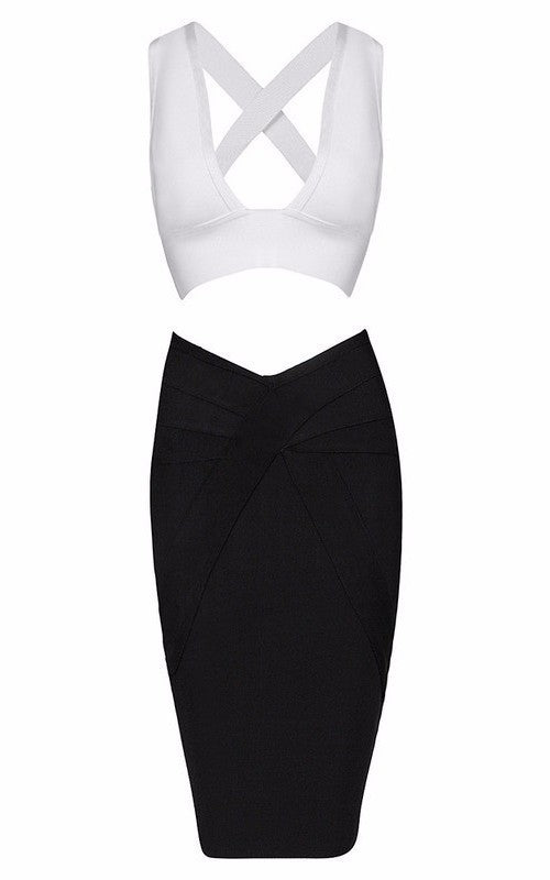 Brands,Dresses,Apparel - Posh Girl  V-Front Crop Bandage Skirt Set