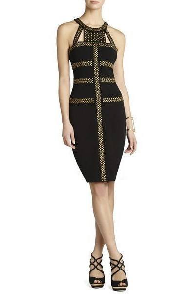 Chantal  Black Studded Bandage dress-POSH GIRL-Posh Girl