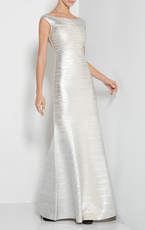 Silver Foil Scoop Back Bandage Gown for $2.38 at Posh Girl