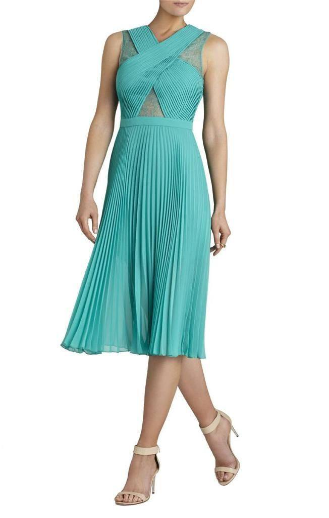 Brands,Dresses,Collections - BCBG Agate Green ABBIE Pleated Contrast-Lace Dress
