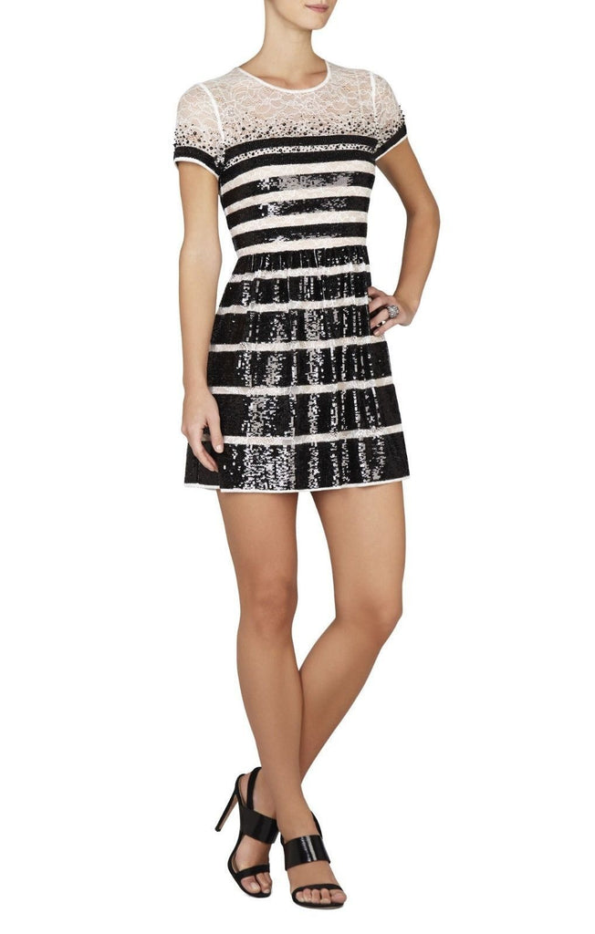 TASI SEQUIN-STRIPED LACE MINI DRESS-BCBGMAXAZRIA-Posh Girl