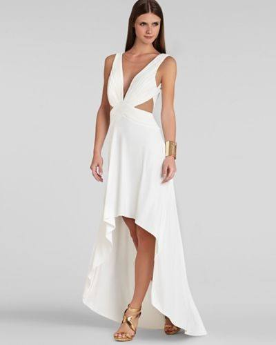 White ANASTASIA Draped Crisscross-Front Dress-BCBGMAXAZRIA-Posh Girl