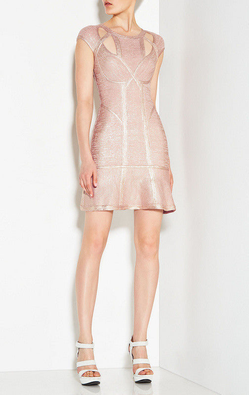 Blush Foil Print Cutout Bandage Dress-POSH GIRL-Posh Girl