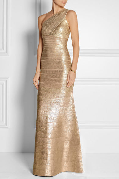 Gold One Shoulder Foil Print Bandage Gown-POSH GIRL-Posh Girl
