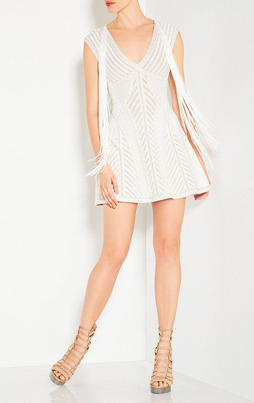 White Textured Fringe Bandage Mini Dress