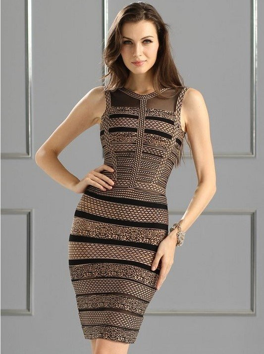 Brands,Dresses,Collections - Posh Girl Avalia Foil Print Bandage Dress