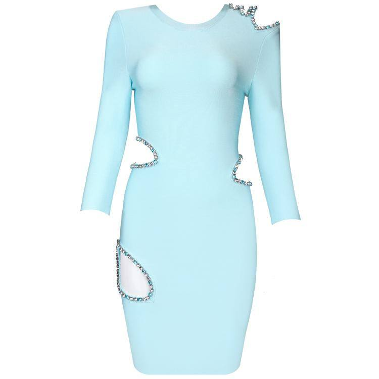 Brands,Dresses,Collections - Posh Girl Baby Blue Rhinestone Cutout  Bodycon Dress