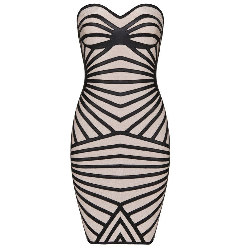 Brands,Dresses,Collections - POSH GIRL  Black And Nude Foil Print Bandage Dress