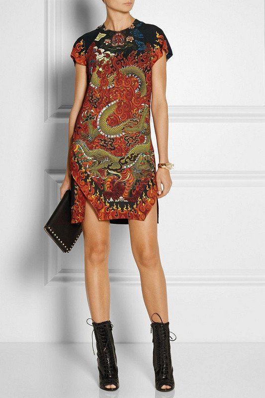 Black And Orange Dragon Print Shirt Dress-POSH GIRL-Posh Girl