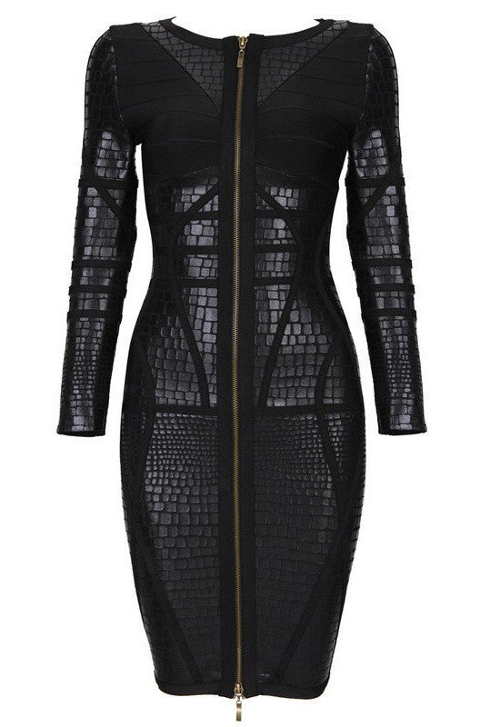 Brands,Dresses,Collections - Posh Girl Black Foil Print Long Sleeve Bandage Dress
