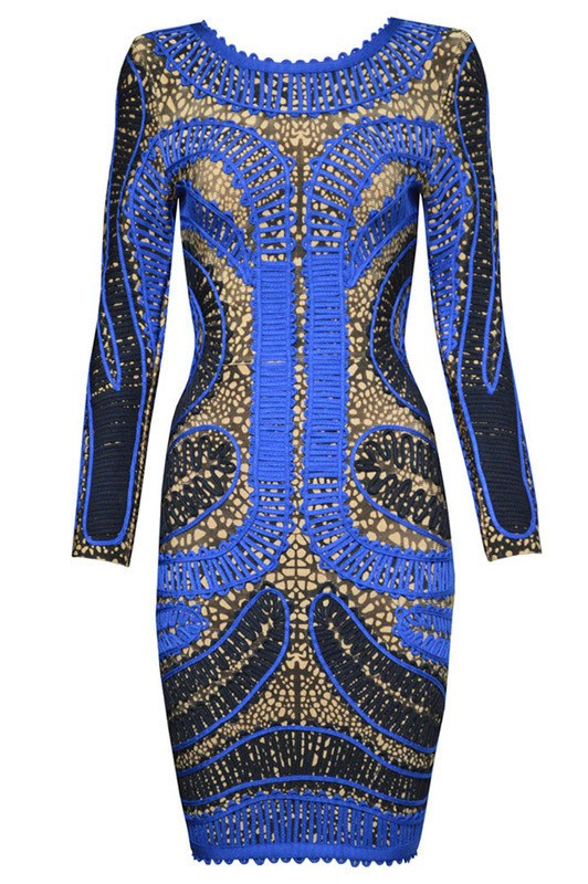 Blue Multi Long Sleeve Bandage Dress-POSH GIRL-Posh Girl