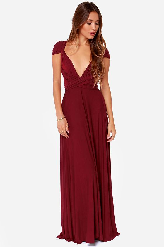 Brands,Dresses,Collections - Posh Girl Burgundy Convertible  Maxi Dress