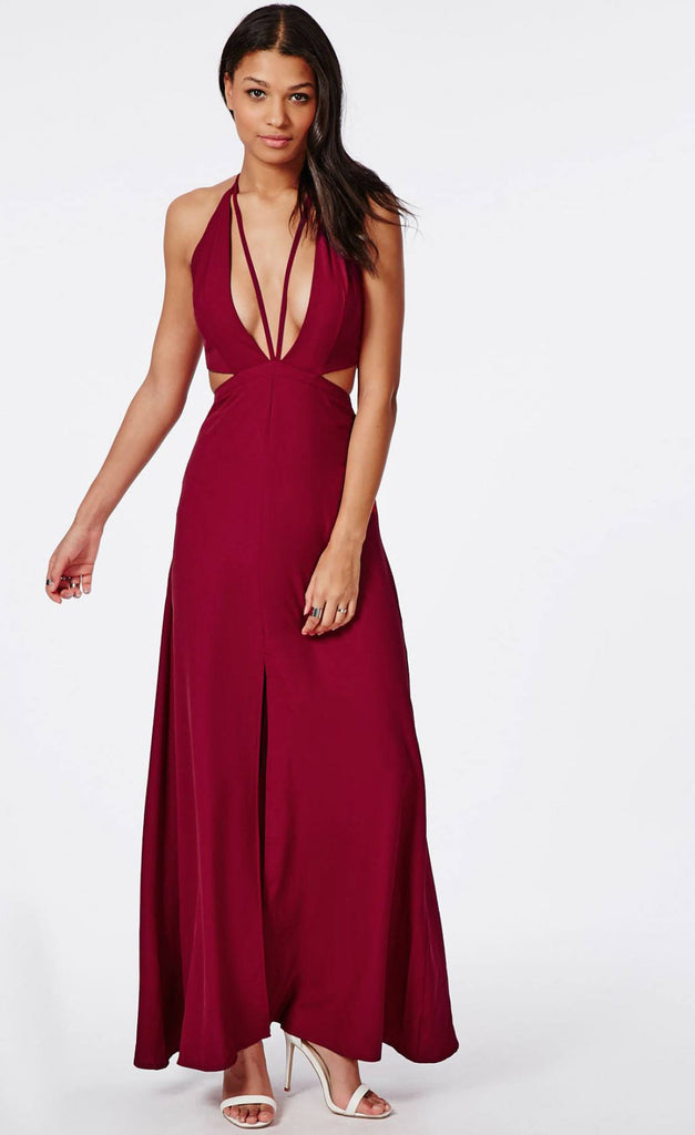 Posh Girl Burgundy V-Front Maxi Dress-POSH GIRL-Posh Girl