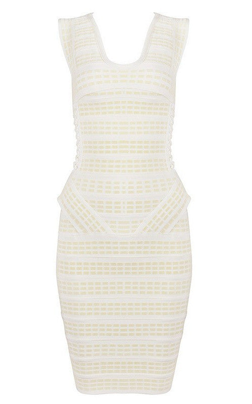 Garbo White And Ivory Bandage Dress-POSH GIRL-Posh Girl