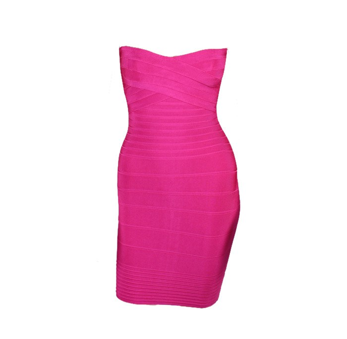 Brands,Dresses,Collections - POSH GIRL Hot Pink Strapless Bandage Dress