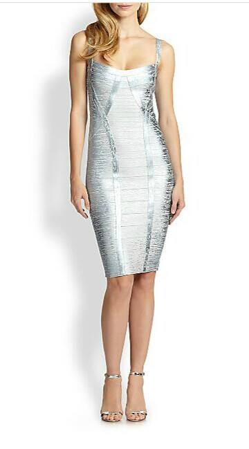 Posh Girl Ice Blue Foil Print Bandage Dress-POSH GIRL-Posh Girl