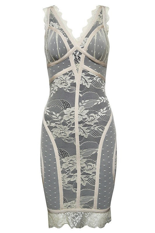 Brands,Dresses,Collections - Posh Girl Ivory Lace Bandage Dress