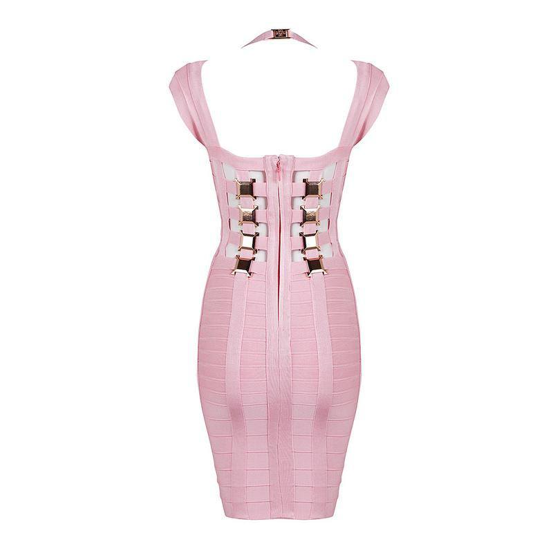 Brands,Dresses,Collections - Posh Girl Pink Open Back Bandage Dress