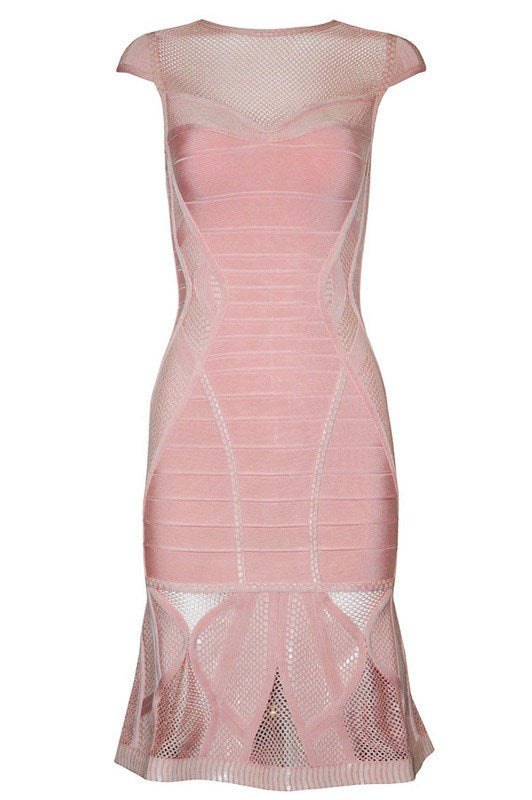 Posh Girl Pink Sheer Insert Bandage Dress-POSH GIRL-Posh Girl