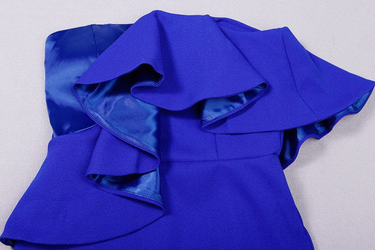 Brands,Dresses,Collections - Posh Girl Royal Blue Sculpted Statement  Dress