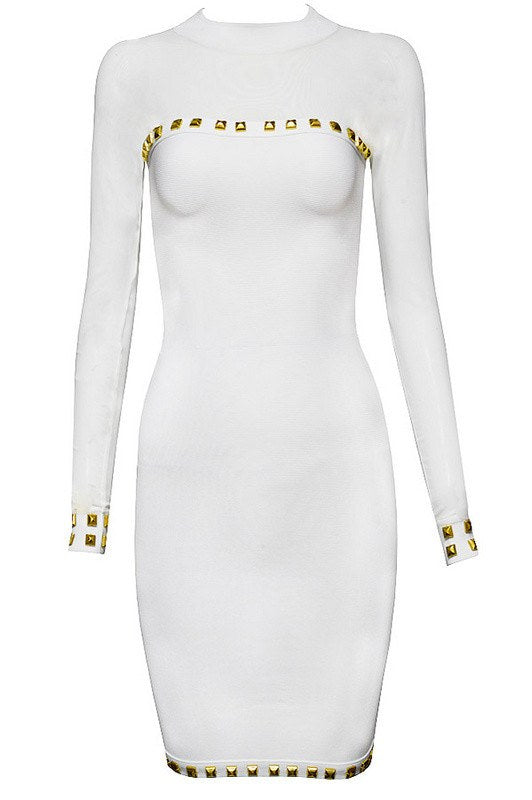 White Long Sleeve Studded Bandage Dress for $1.78 at Posh Girl