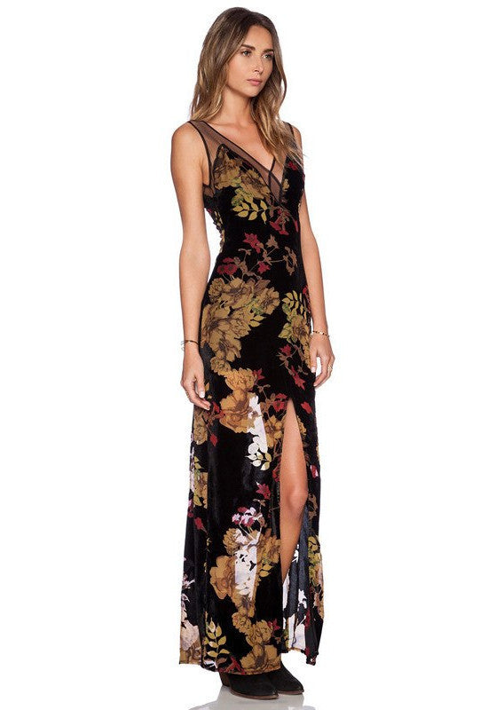 Black Flora Print l Chiffon Maxi Dress-POSH GIRL-Posh Girl