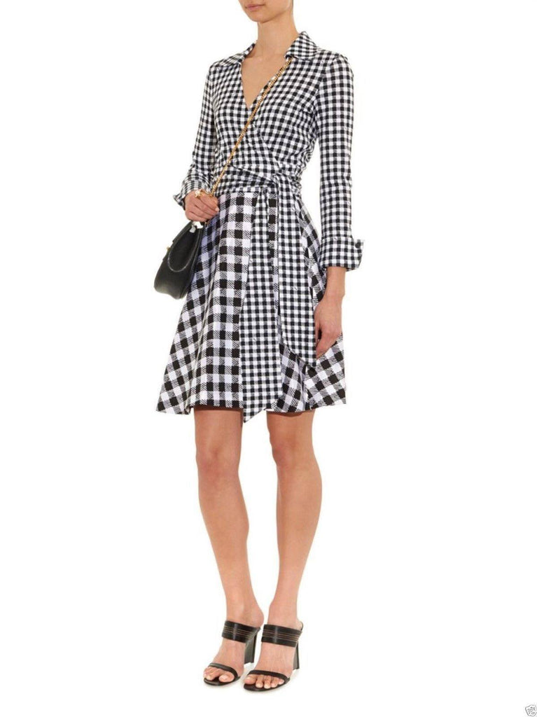Diane Von Furstenberg Amelianna Flared Silk Combo Wrap Dress-DIANE VON FURSTENBERG-Posh Girl