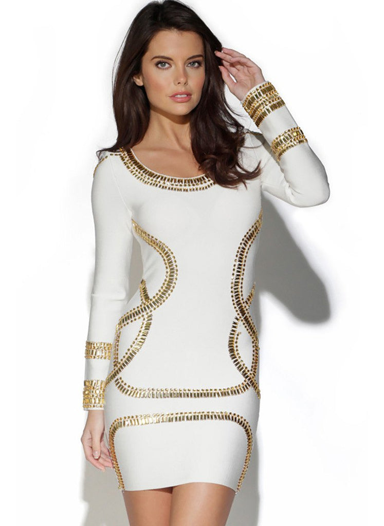 Beaded Black Long Sleeve Bandage Dress-POSH GIRL-Posh Girl