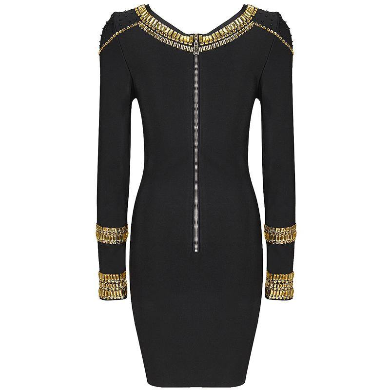 Brands,Dresses,New,Collections,Apparel - Posh Girl Beaded Black Long Sleeve Bandage Dress