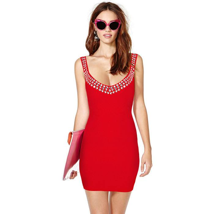 Posh Girl  Beaded Red Open Back Bandage Dress-POSH GIRL-Posh Girl