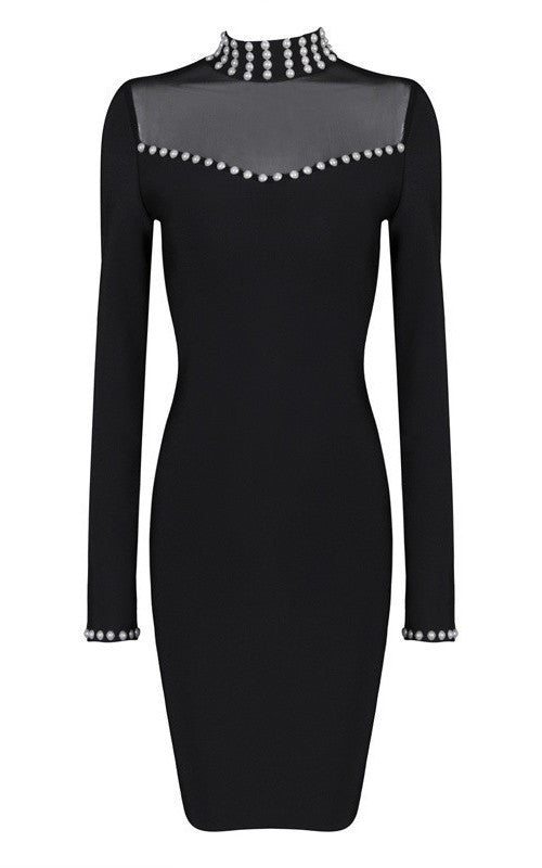 Posh Girl Black Pearl Bandage Dress-POSH GIRL-Posh Girl