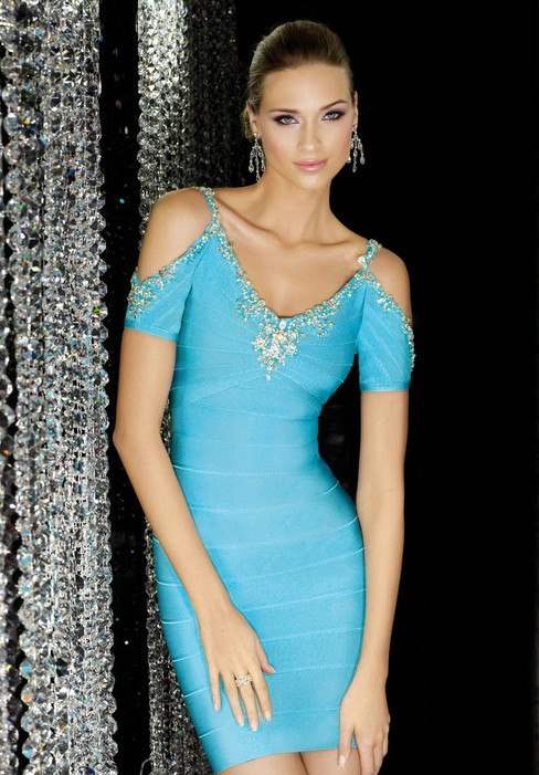 Hera Baby Blue Off Shoulder  Bandage Dress-POSH GIRL-Posh Girl