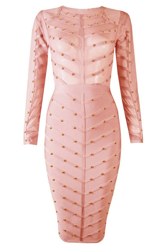 Brands,Dresses,New,Collections,Apparel - Posh Girl Janell Studded Bandage Dress