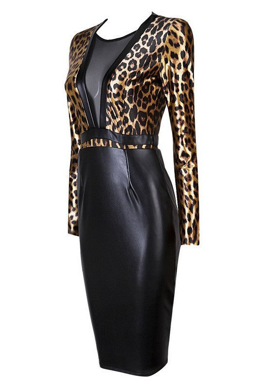 Brands,Dresses,New,Collections,Apparel - Posh Girl Leopard Print Vegan Leather Dress