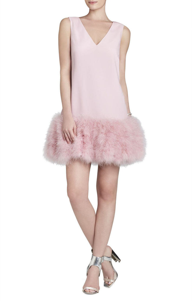 BCBG MAXAZRIA JAMYSEN V-NECK FEATHER-HEM DRESS-BCBGMAXAZRIA-Posh Girl