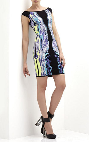 Brands,Dresses,New,Collections - Posh Girl Abstract Print Bandage Cocktail Dress