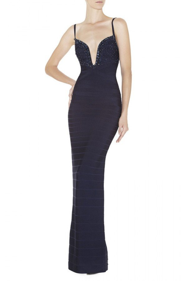 Brands,Dresses,New,Collections - Posh Girl Beaded V-Neck Bandage Gown