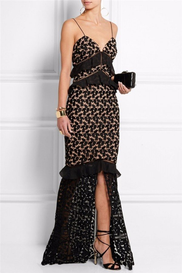 Brands,Dresses,New,Collections - Posh Girl Black Lace Ruffled Gown