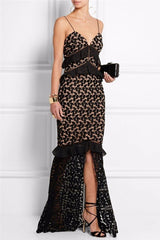 Black Embroidered Lace Ruffled Gown for $2.28 at Posh Girl