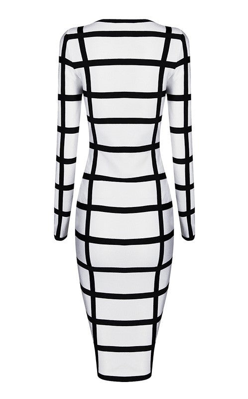 Brands,Dresses,New,Collections - Posh Girl Black & White Long Sleeve Bandage Dress