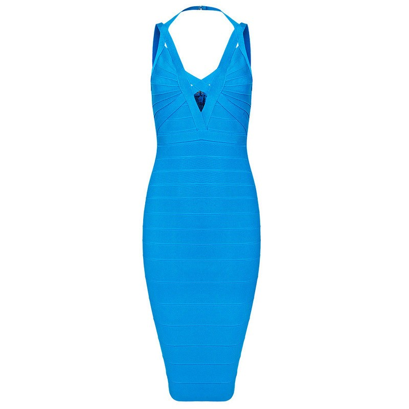 Blue V-Front Halter Bandage Dress for $1.78 at Posh Girl